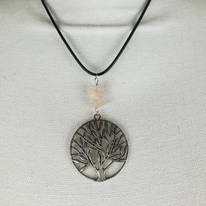 Silver tone tree necklace with rose quartz beads